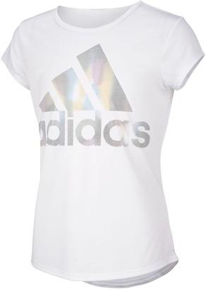 adidas Girls 7-16 Rainbow Foil Graphic Tee