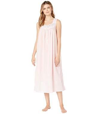 Eileen West Woven Sheer Stripe Clip Dot Sleeveless Ballet Nightgown