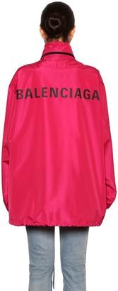 Balenciaga Back Logo Hooded Nylon Windbreaker
