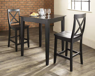 Charlton Home Pershore 3 Piece Pub Table Set with Tapered Leg Table and X-Back Barstools