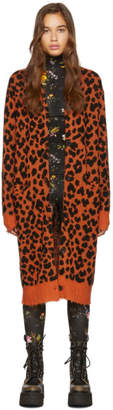 R 13 Orange Leopard Cashmere Long Cardigan