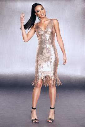 boohoo Premium Sequin Fringed Hem Dress