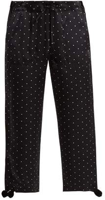 Figue - Fiore Polka Dot Print Silk Satin Trousers - Womens - Black