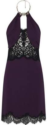 Roberto Cavalli Embellished Lace-Paneled Ruched Cady Halterneck Dress