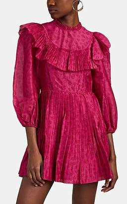 Ulla Johnson Women's Whitley Pleated-Ruffle Floral Cotton-Silk Dress - Pink