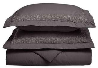 Superior Light Weight and Super Soft Brushed Microfiber, Wrinkle Resistant Duvet Cover with Floral Lace Embroidered Pillow Shams