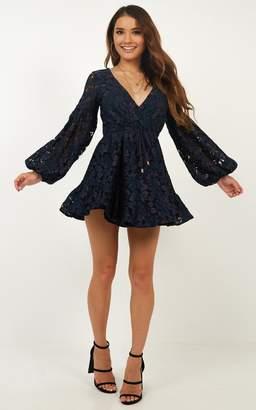 Showpo Autumn Leaves dress in navy lace - 6 (XS) Sale Dresses