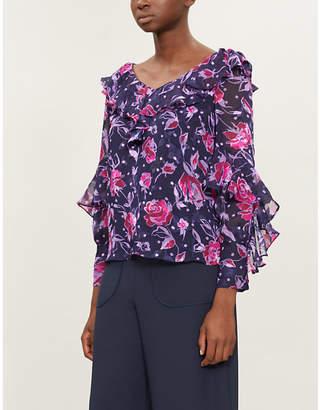 KITRI Hazel floral-print devoré top