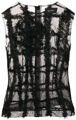 Simone Rocha sheer textured stripe top