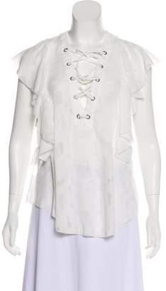 IRO Short Sleeve Ruffle Blouse