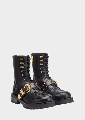 Versace Studded Belt Lace Up Boots