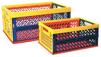 ECR4Kids ECR4KIDS Collapsible Crates with Vented Sides-Multicolor - Set of 12