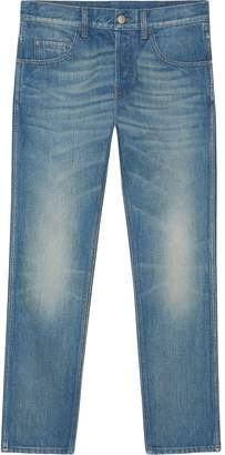 Gucci Denim tapered pant with emrboidered tiger