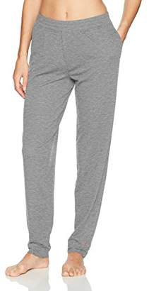 Hue Women's Solid French Terry Cuffed Long Lounge Pant with Pockets