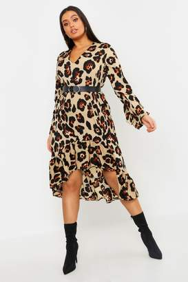 boohoo Plus Leopard Ruffle Hem Midi Dress