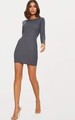 PrettyLittleThing Basic Black Ribbed Long Sleeve Bodycon Dress