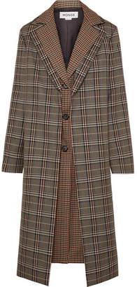 Monse Layered Checked Wool-blend Coat - Brown