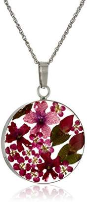 Sterling Silver Round Pressed Flower Pendant Necklace