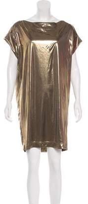 Tory Burch Metallic Short Sleeve Mini Dress