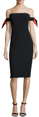 Milly Strapless Bow-Sleeve Italian Cady Midi Dress $495 thestylecure.com