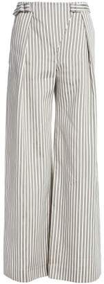 Zimmermann Striped Crinkled Silk Wide-Leg Pants