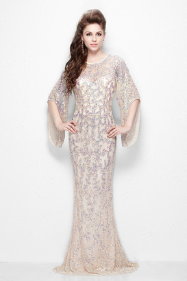 Primavera Couture - Luxurious Sequined Long Sheath Gown with Flared Sleeves 9713 $399 thestylecure.com