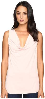 Three Dots Sleeveless Drape Front Top Women's Clothing