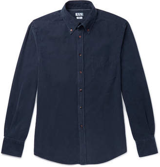 Brunello Cucinelli Button-Down Collar Garment-Dyed Cotton-Corduroy Shirt - Navy