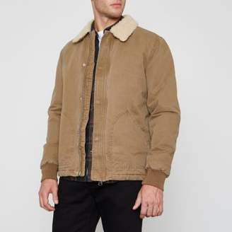River Island Mens Stone fleece collar jacket