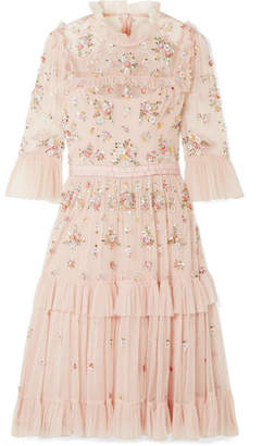 Needle & Thread Lustre Tiered Embellished Tulle Dress - Blush