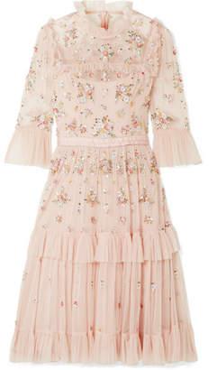 Needle & Thread Lustre Tiered Embellished Tulle Dress - Blush