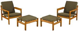 Rejuvenation Pair of Oak Lounge Chairs w/ Ottomans by Borge Mogensen