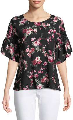 West Kei Smocked-Sleeve Floral Blouse