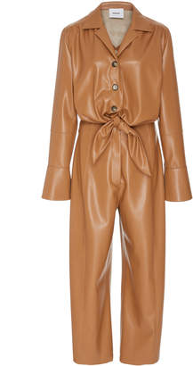 A.N.A Nanushka Tie Front Vegan Leather Jumpsuit