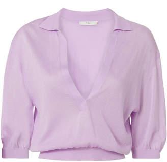 Tibi Crispy Cropped Polo Pullover