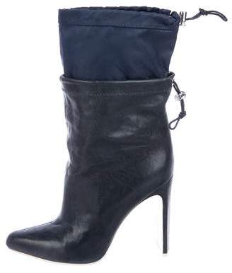 Kenzo Leather Pointed-Toe Mid-Calf Boots