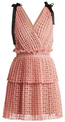 Self-Portrait Self Portrait Two Tier Guipure Lace Dress - Womens - Pink