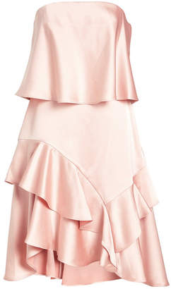 Halston Strapless Satin Dress with Ruffles