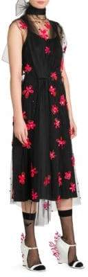 Prada Flower Tulle Overlay Dress