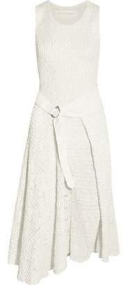 Victoria Beckham Smocked Satin And Lace Midi Dress