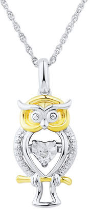 FINE JEWELRY Love in Motion Diamond Accent Sterling Silver Owl Pendant Necklace