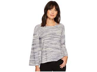 Vince Camuto Long Sleeve Novelty Space Dye Sweater with Slit Neckband Women's Long Sleeve Pullover