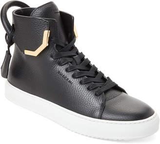Buscemi Black Corner Metal High-Top Leather Sneakers