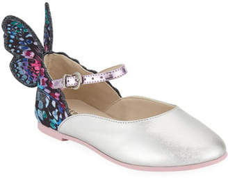 Sophia Webster Chiara Leather-Trim Butterfly Mary Jane Flats, Toddler/Kids