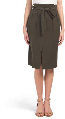 Juniors Paperbag Waist Slit Skirt