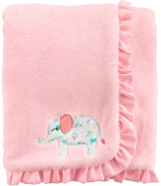 Carter's Baby Girl Embroidered Elephant Ruffled Blanket
