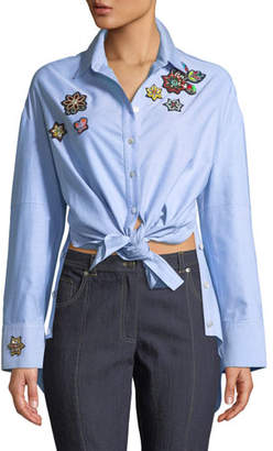 Cinq à Sept Arleigh Embroidered Button-Front Top