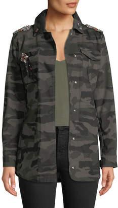 Anna Cai Embellished Camo Utility Jacket