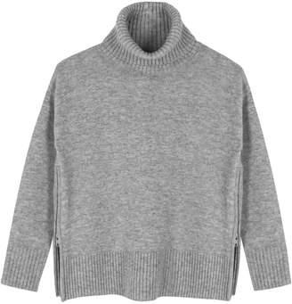 Ille De Cocos - Side Zip Roll Neck Sweater Silver Grey Marl