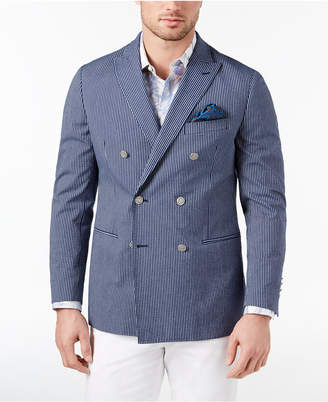 Tallia Orange Men's Big & Tall Modern-Fit Stretch Navy Seersucker Stripe Double-Breasted Sport Coat
